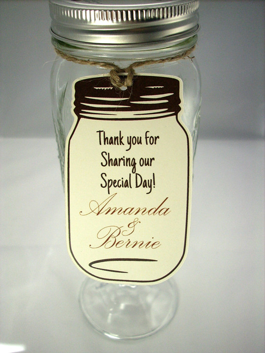 rustic Mason Jar Wedding Favors with Tags