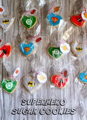 Superhero Sugar Cookies with free printables   jordansonion.com #superman #spiderman #batman #greenlatern