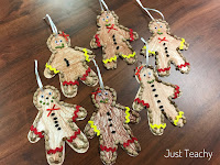 Gingerbread Men Ornaments, www.JustTeachy.com