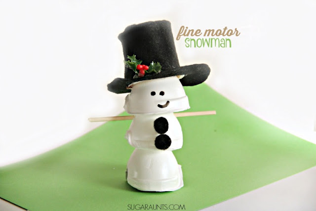 Make this egg carton snowman craft and work on fine motor skills like tripod grasp, intrinsic hand strength with arch development, and an open web space with the kids this year.