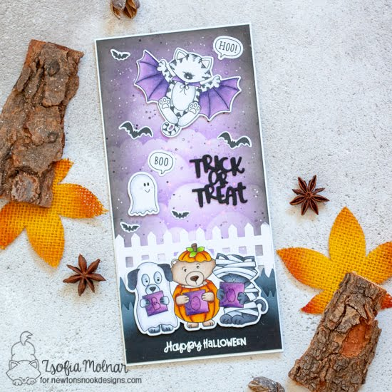 Trick or Treat Slimline Card by Zsofia Molnar | Batty Newton Stamp Set, Halloween Trio Stamp Set, Boo Hoo Stamp Set, Fence Die Set, Land Borders Die Set and Clouds Stencil by Newton's Nook Designs #newtonsnook #handmade