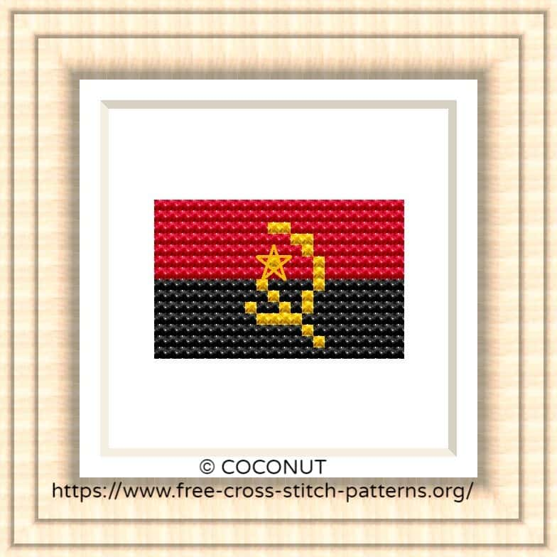 NATIONAL FLAG OF ANGOLA CROSS STITCH CHART