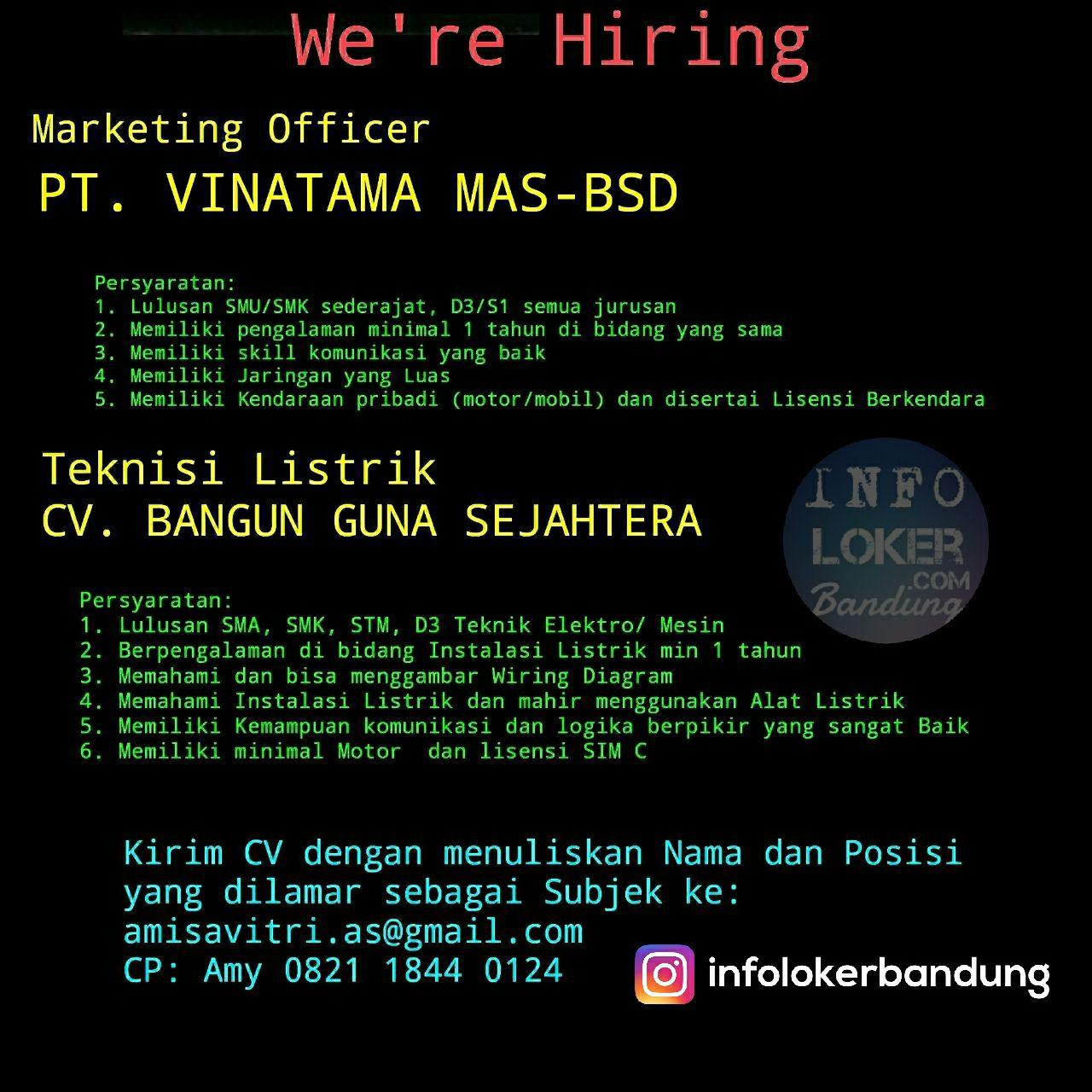 Lowongan Kerja PT. Vinatama Mas-BSD & CV. Bangun Guna Sejahtera Bandung Januari 2018