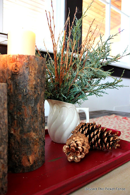 branches, ironstone, pitcher, thrift store, centerpiece, Christmas, pinecones, candles,http://bec4-beyondthepicketfence.blogspot.com/2015/12/12-days-of-christmas-day-8-woodland.html
