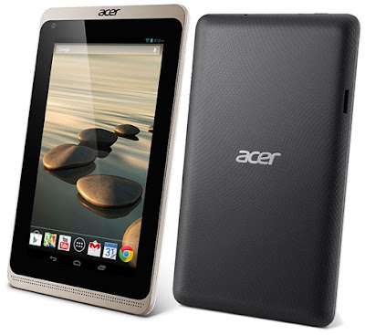 Acer Iconia B1-720 Specifications - LAUNCH Announced 2014, January DISPLAY Type TFT capacitive touchscreen Size 7.0 inches (~56.7% screen-to-body ratio) Resolution 600 x 1024 pixels (~170 ppi pixel density) Multitouch Yes BODY Dimensions 199 x 122.3 x 11.4 mm (7.83 x 4.81 x 0.45 in) Weight 323 g (11.39 oz) SIM Yes PLATFORM OS Android OS, v4.2 (Jelly Bean) CPU Dual-core 1.3 GHz Cortex-A7 Chipset Mediatek MT8312 GPU Mali-400 MEMORY Card slot microSD, up to 32 GB (dedicated slot) Internal 16 GB, 1 GB RAM CAMERA Primary VGA Secondary No Video Yes NETWORK Technology GSM / HSPA 2G bands GSM 850 / 900 / 1800 / 1900 3G bands HSDPA Speed HSPA GPRS Yes EDGE Yes COMMS WLAN Wi-Fi 802.11 b/g/n GPS Yes USB microUSB v2.0 Radio No Bluetooth Yes FEATURES Sensors Accelerometer Messaging Email, Push Email, IM Browser HTML5 Java No SOUND Alert types Vibration; MP3, WAV ringtones Loudspeaker Yes 3.5mm jack Yes BATTERY  Non-removable Li-Po 2955 mAh battery Stand-by  Talk time  Music play  MISC Colors Black/Red  - MP3/WAV/WMA/eAAC+ player - MP4/H.264 player - Document viewer - Photo viewer/editor