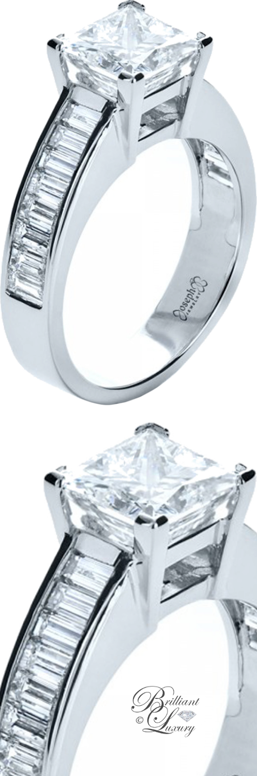 Brilliant Luxury ♦ Custom Princess Cut & Baguette Diamond Engagement Ring