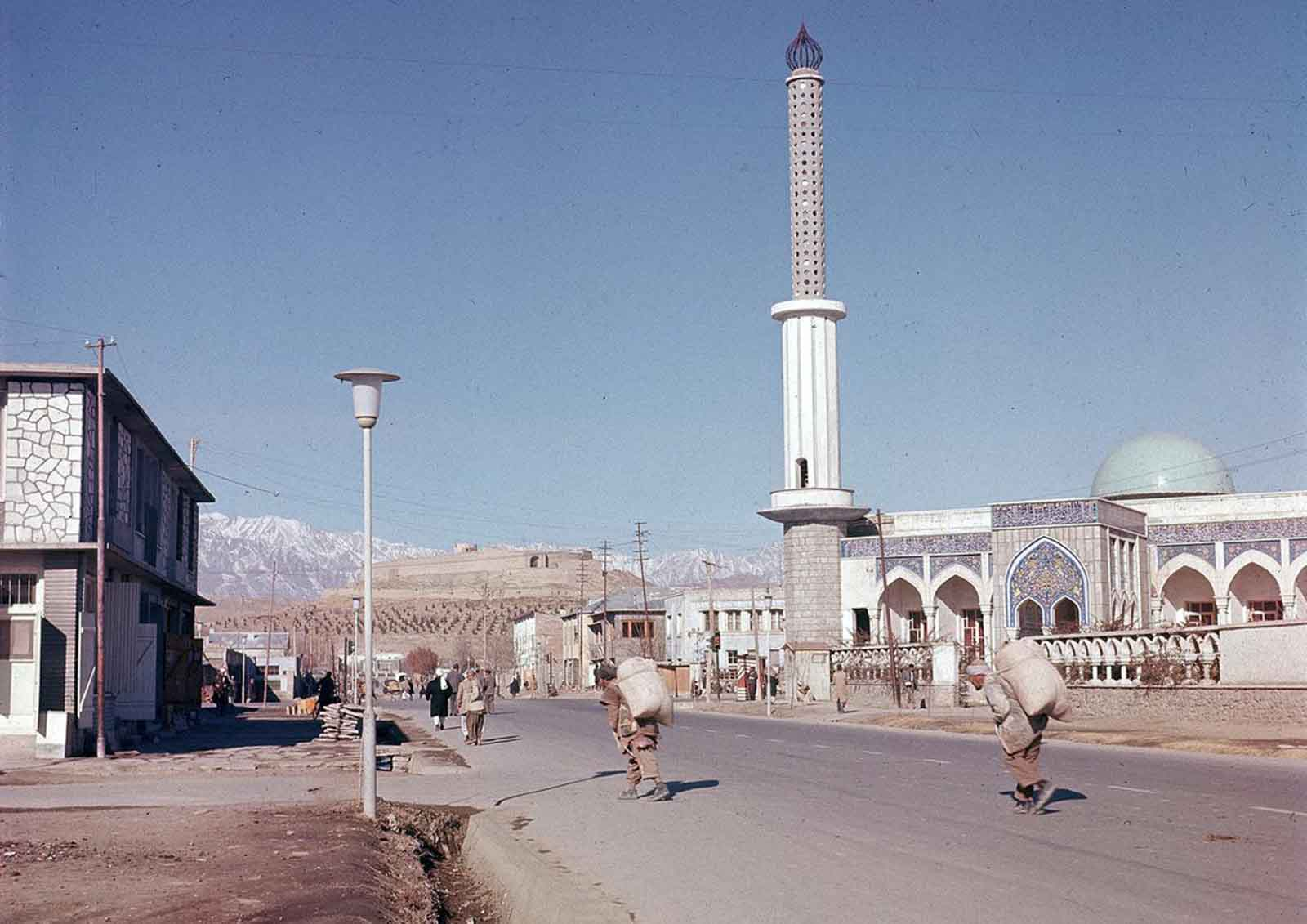 A view of one of the new mosques erected in the suburb of Kabul, in November of 1961.