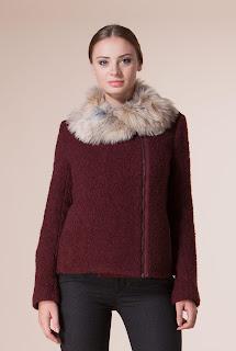 Jacheta dama din lana cu guler blana