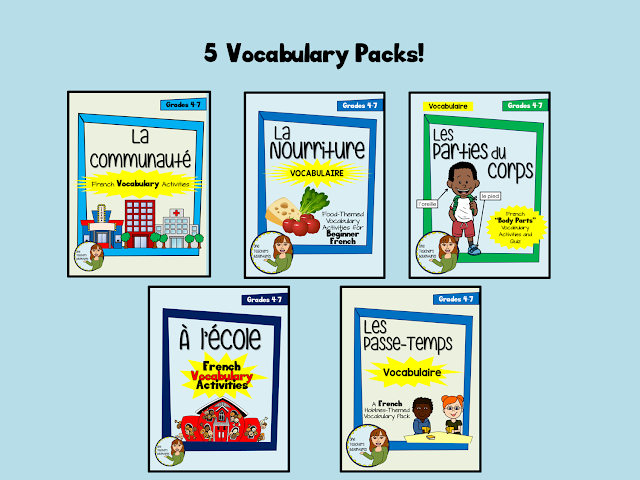 https://www.teacherspayteachers.com/Product/French-Vocab-Activity-BUNDLE-2-Community-Food-School-Hobbies-and-Body-3247616