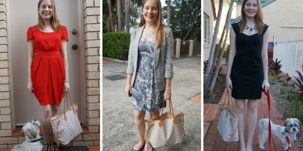 Outfit Ideas Louis Vuitton Neverfull tote and dresses for the office | away from the blue