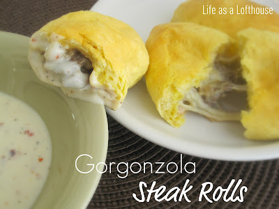 Gorgonzola Steak Rolls are cheesy, crispy rolls filled with steak and Gorgonzola cheese. Life-in-the-Lofthouse.com