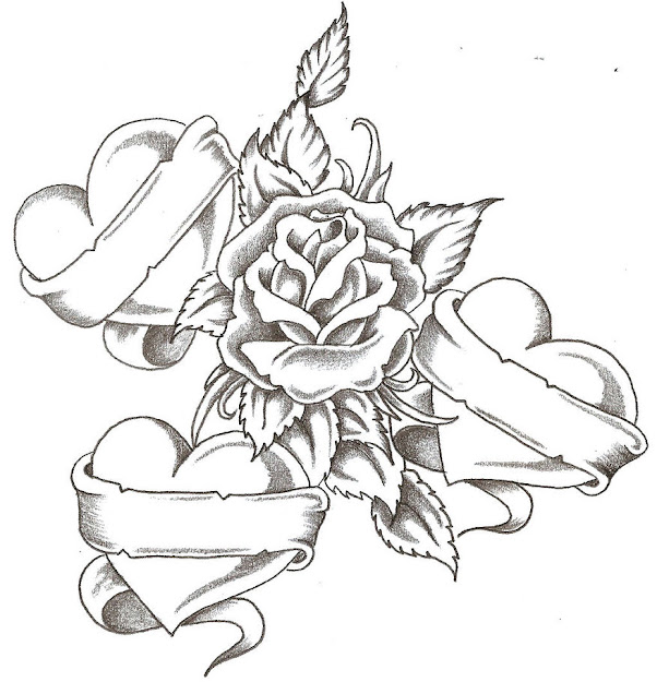 Emo Roses And Hearts To Color