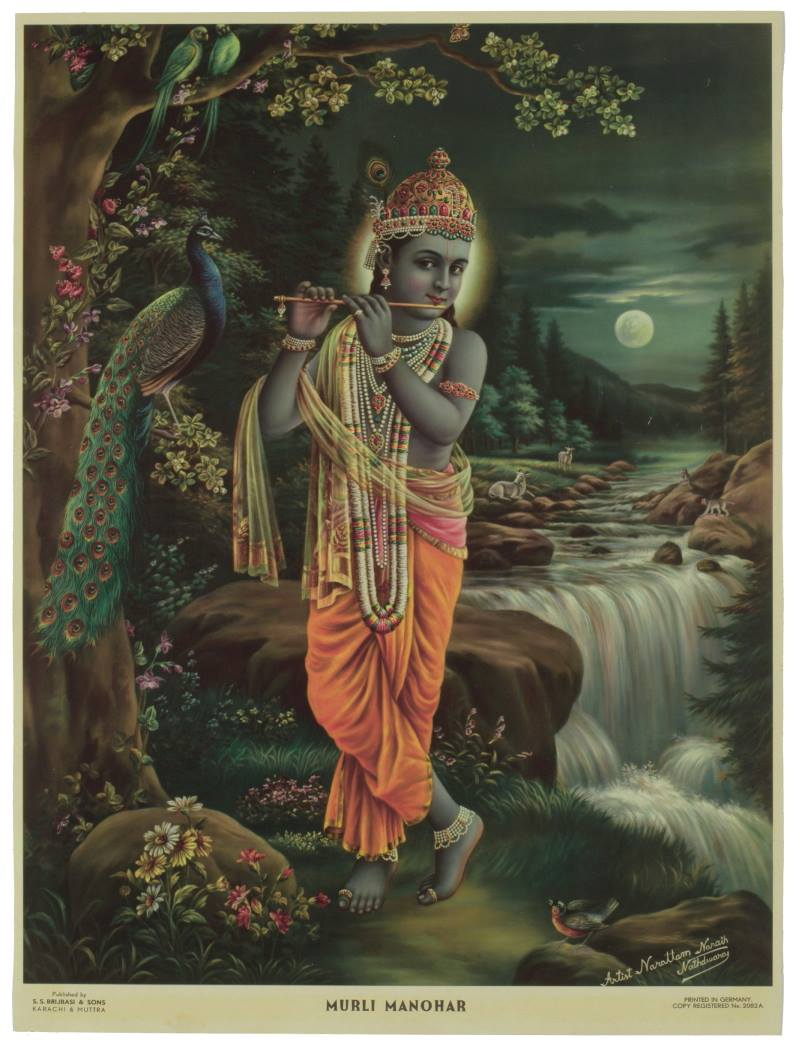 Krishna Playing Flute in a Moonlit Night (Murli Manohar) - Indian Religious Print c1930-1940