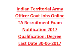 Indian Territorial Army Officer Govt Jobs Online TA Recruitment Exam Notification 2017 Qualification Degree Last Date 30-06-2017