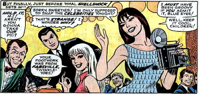 Amazing Spider-Man #59, don heck, john romita, gwen stacy gives mary jane watson the OK sign as she walks around the club with a camera in her hand, peter parker and harry osborn are also present