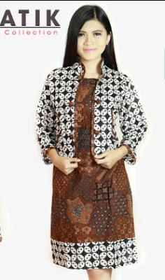 Mini Dress batik kombinasi blazer