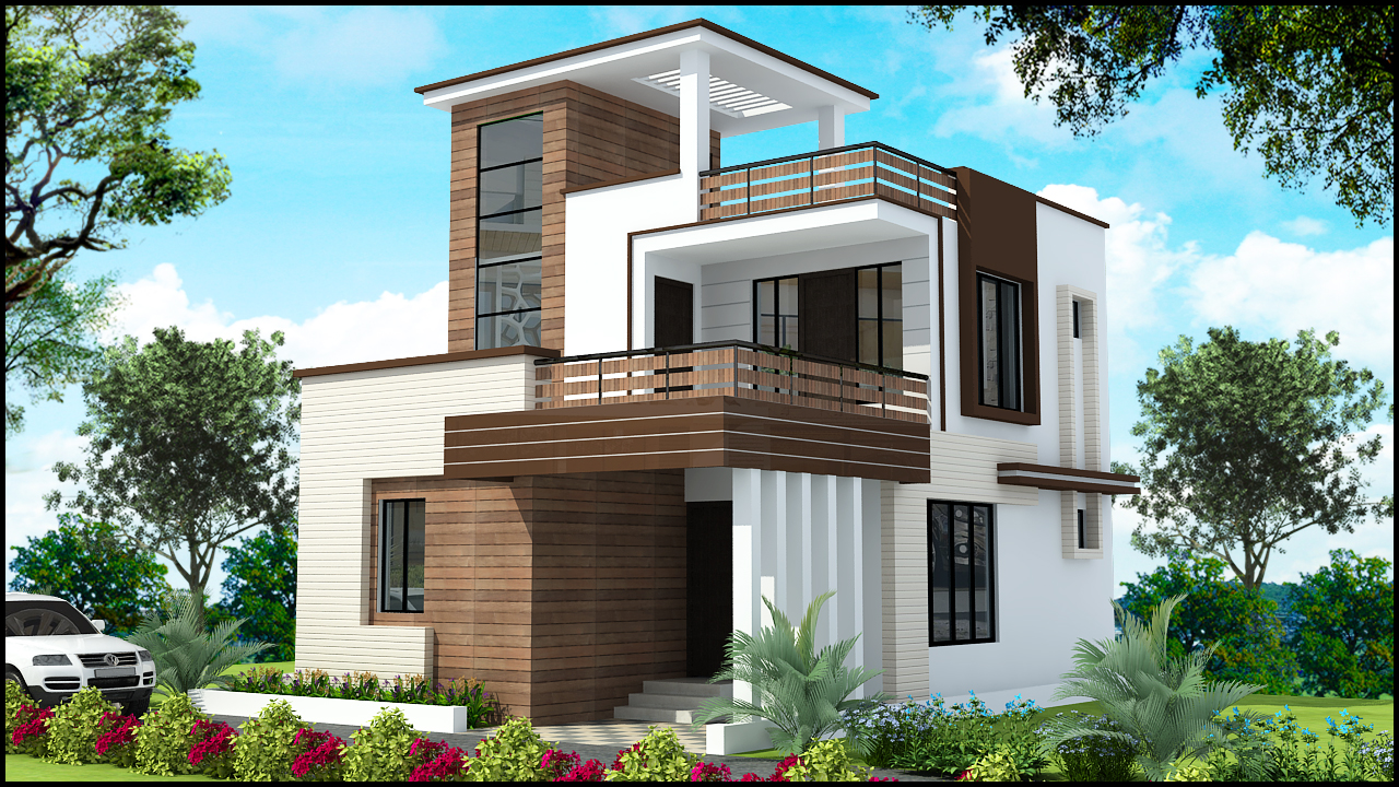 Ghar planner leading house plan and house design for Front elevations of duplex houses