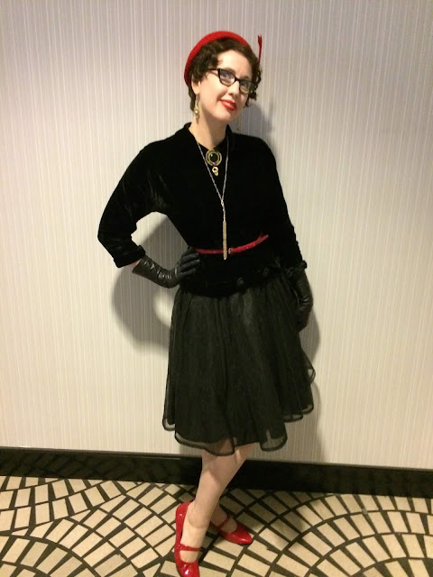 Gail Carriger in Black 1940s Velvet with Red Accessories in San Francisco  (Bonus Glove Length Terms)