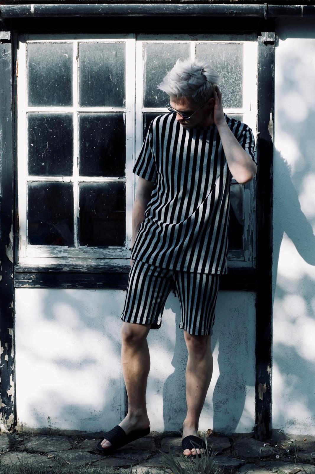 Men's street style stripe co ord