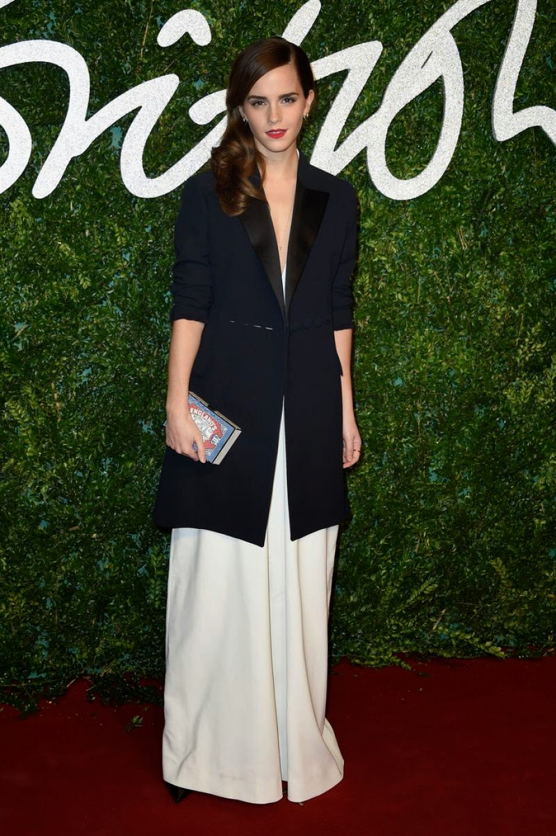 Emma Watson in Misha Nonoo Jumpsuit + Dior Jacket at 2014 British Fashion Awards