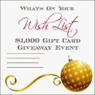 Enter the What's on your Wish List Giveaway to win $1,000 cash. Ends 12/1.