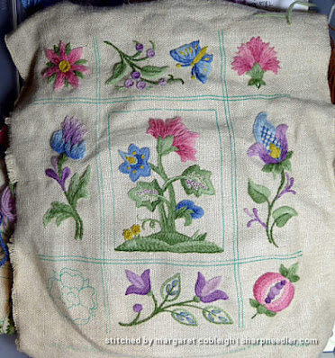 Crewel Sampler (by Elsa Williams): Nearly done
