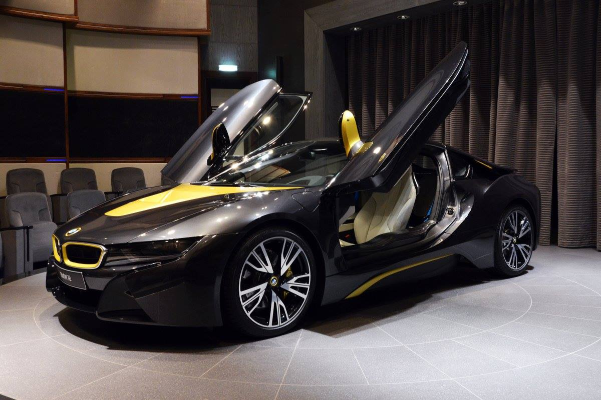 Bmw I8 Looks Sleek In Sophisto Grey With Austin Yellow Accents