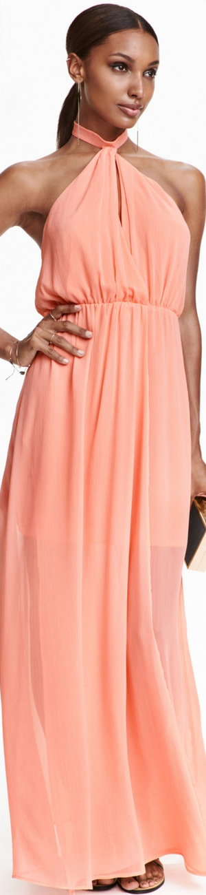 H&M Halterneck Dress in Light Coral