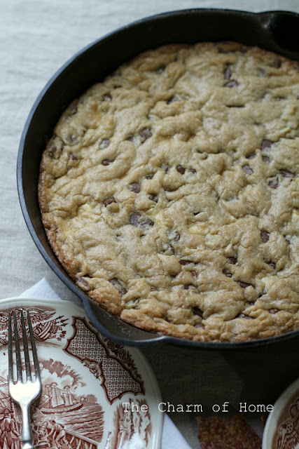 Triple Chocolate Chip Skillet Cookie
