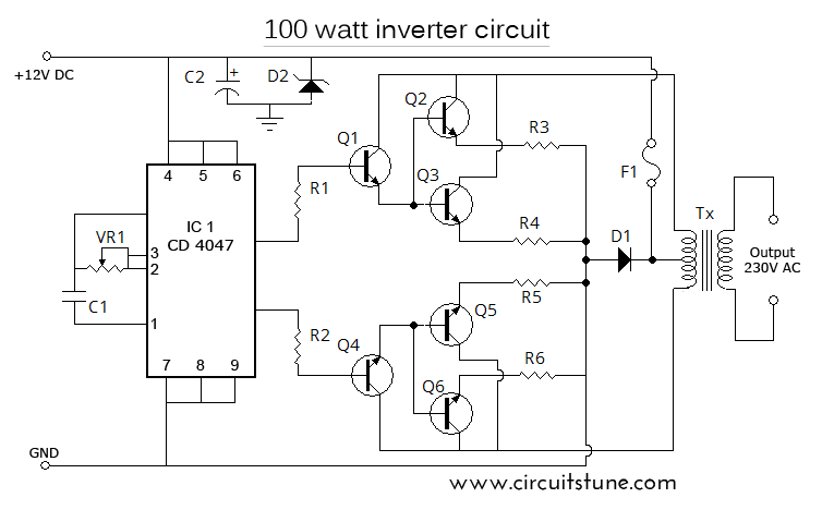 100 watt inverter schematic diagram \u2013 12 volt to 220 volt circuitstune 220 Motor to 110 Volts fig schematic diagram of 100w inverter