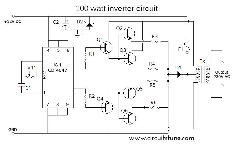 12v To 230v 100w Inverter Circuit Diagram