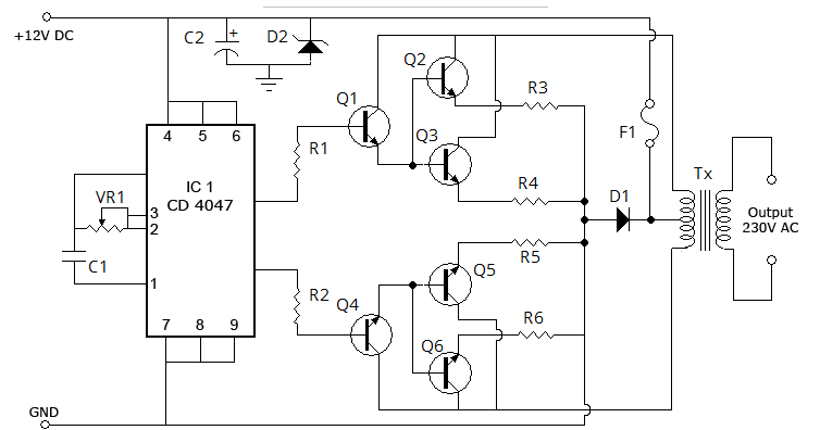 100 watt inverter schematic diagram 12 volt to 220 volt