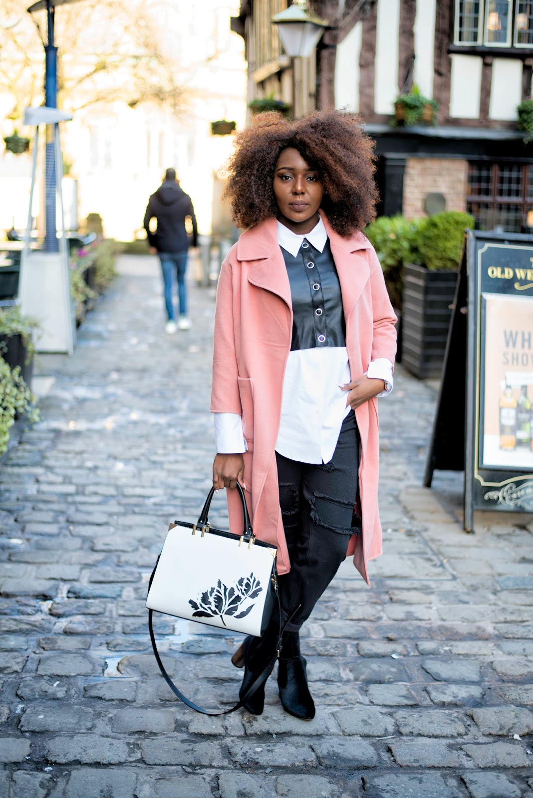 Stephylately | Wearing Boohoo Emeli Collar Coat, boohoo ankle boots and boohoo mum jeans