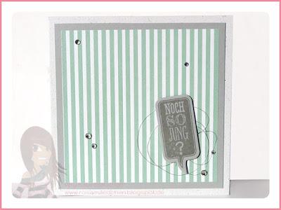 Stampin' Up! rosa Mädchen Kulmbach: Geburtstagskarte gestreift mit Sprechblasen Framelits und Ganz schön aufgeblasen
