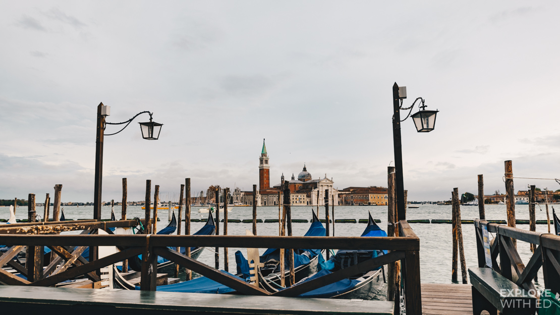Gondolas Docked in Venice looking towards the island of San Giorgio Maggiore