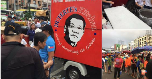 "LOOK: Free Lugaw Served By Duterte's Kitchen In Plaza Miranda During The ""National Day Of Protest"""
