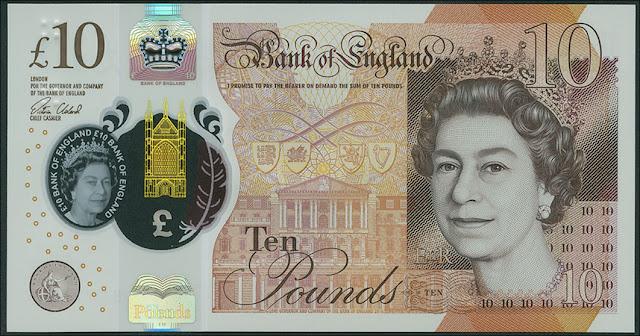Great Britain new 10 Pound Sterling polymer note 2017 Queen Elizabeth II