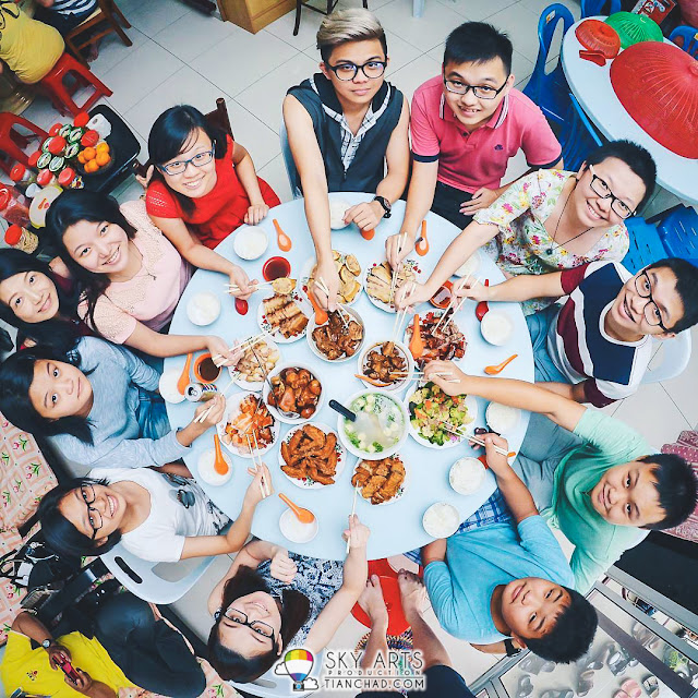 A photo of us having reunion lunch during Chinese New Year #TCFisheye