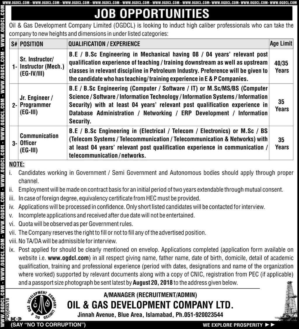 OGDCL Jobs Oil And Gas Development Company Limited 2018
