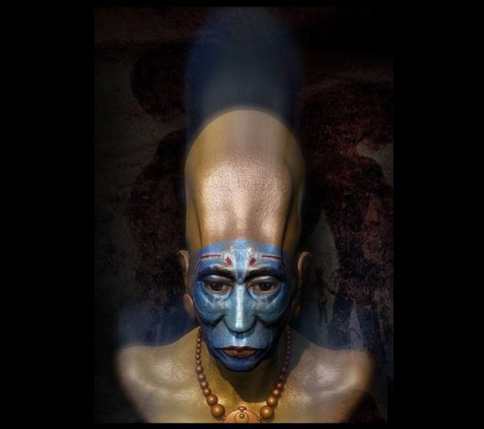 Representación de cómo habría lucido uno de los seres poseedores de los misteriosos cráneos de Paracas.
