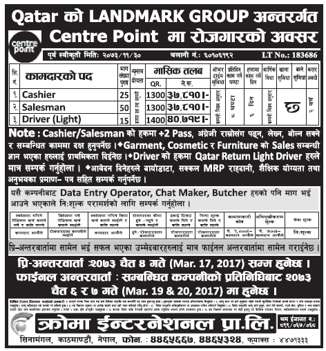 Jobs in Qatar for Nepali, Salary Rs 40,719