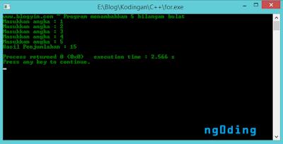 Pengulangan Memakai For Dalam Bahasa Pemrograman C++