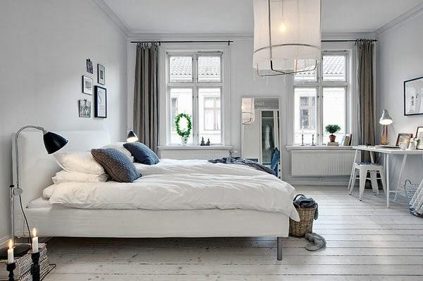 Cortina opaca habitación estilo nórdico