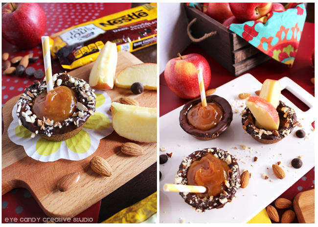 caramel dip for apples, sliced apples, almonds, nestle toll house