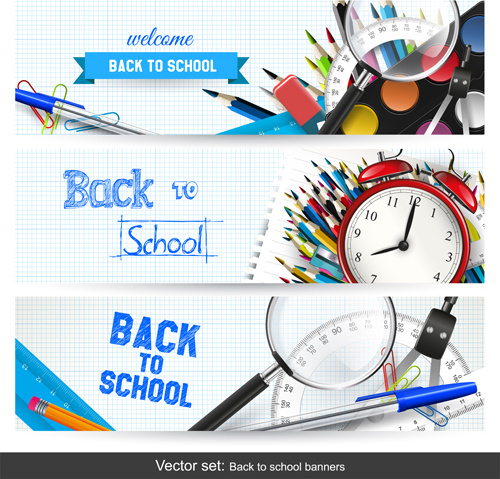 Back to school banner creative Free vector