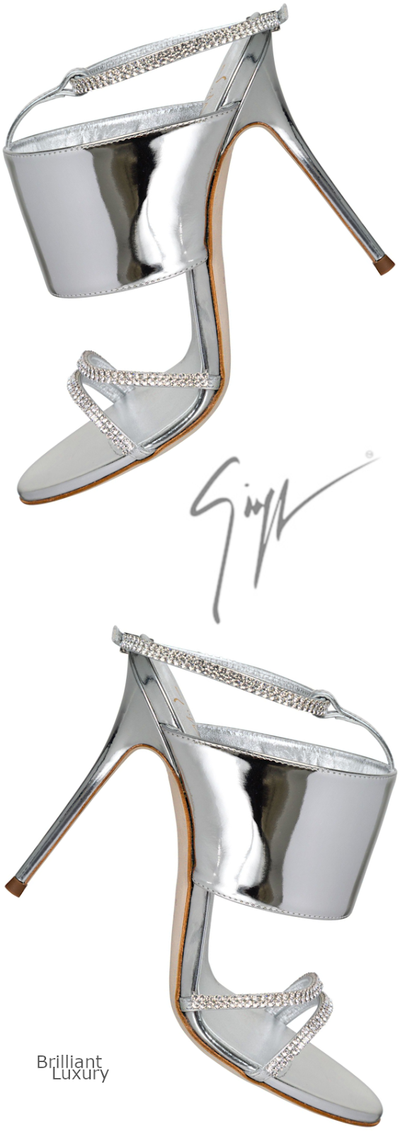 Brilliant Luxury♦Giuseppe Zanotti silver metallic Swarovski sandals
