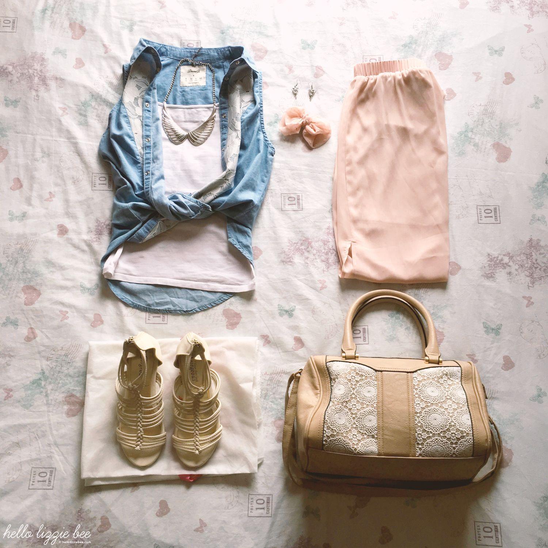 maxi skirt denim shirt outfit
