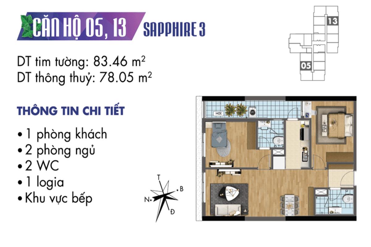 Mặt bằng căn hộ 05 và 13 tòa Sapphire 3