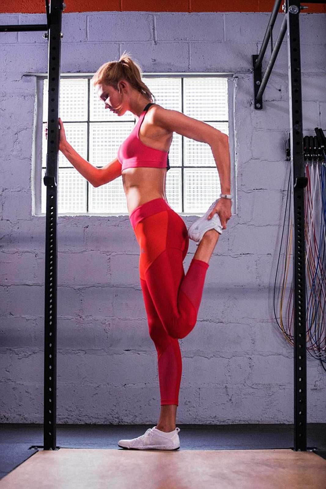 Karlie stretches in the bold collection