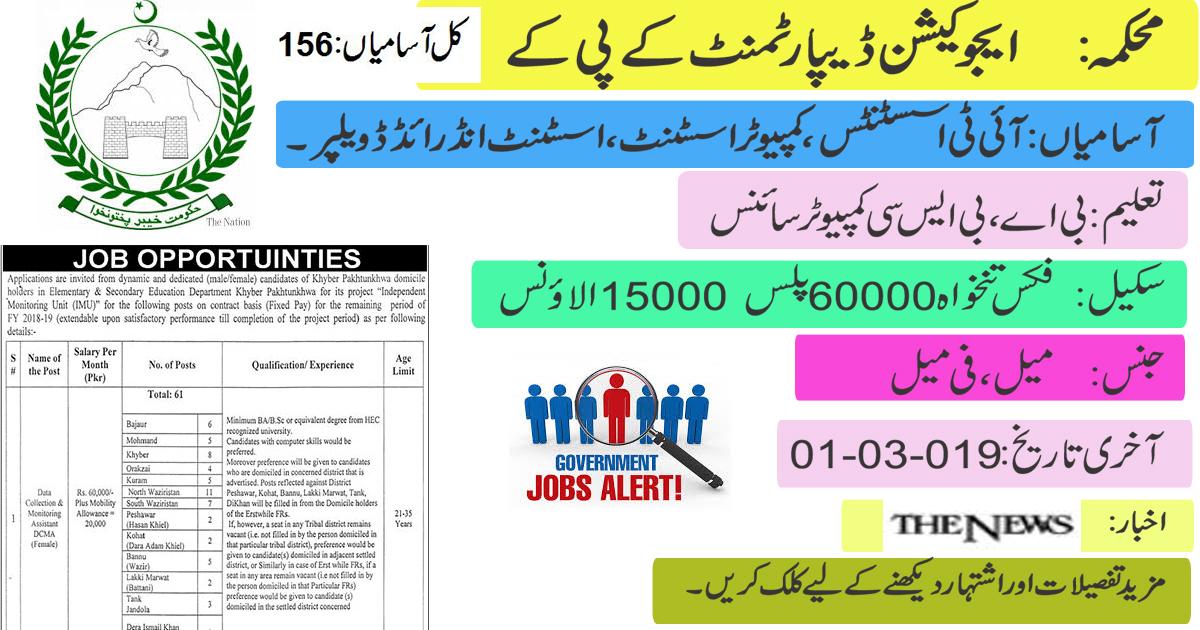Jobs in Pakistan: Education Department KPK Jobs 2019
